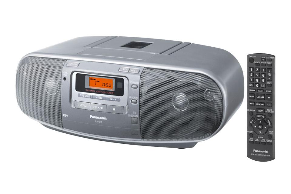 Ghettoblaster med CD, kassette, radio, USB og en udgangseffekt på 6W. Panasonic RX-D50 kan også køre på batteri.