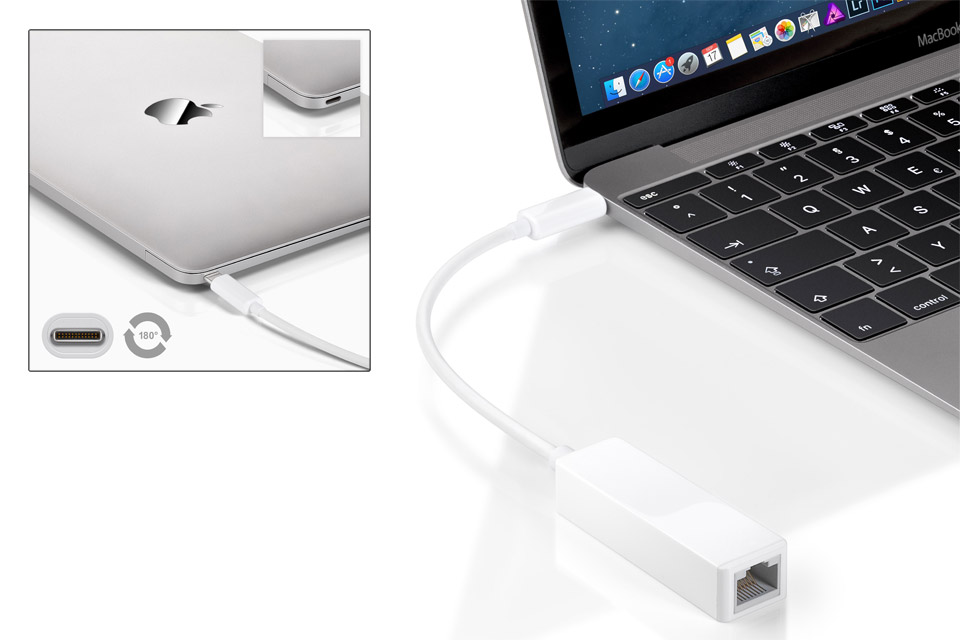 Gigabit netværksadapter til USB 3.1 Type C. Tilsluttes evt.  MacBook eller ChromeBook for at forbinde til et kablet netværk.