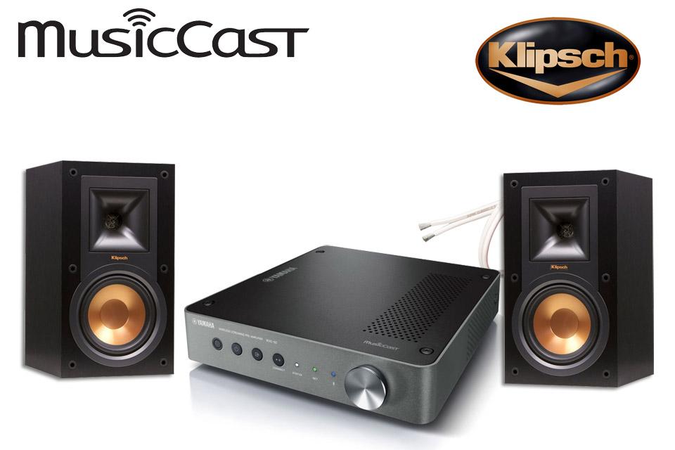 MusicCast streaming løsning med de populære Klipsch R-15M højttalere inkl. 10 m. højttalerkabel fra Supra.