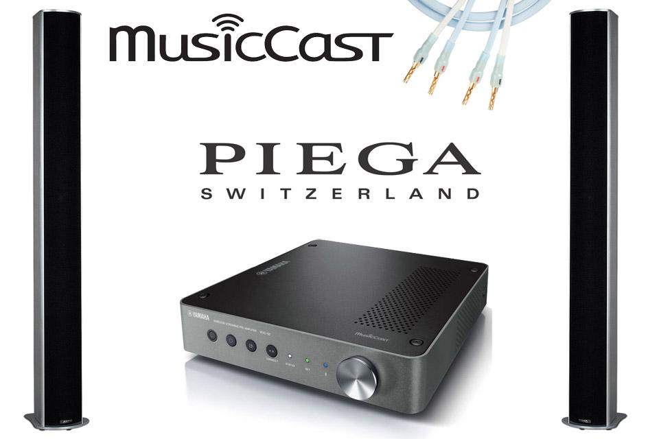 Simpelt og eksklusiv streaming løsning med Piega TMicro 5 gulvhøjttalere og Yamaha WXA-50 MusicCast streaming forstærker.