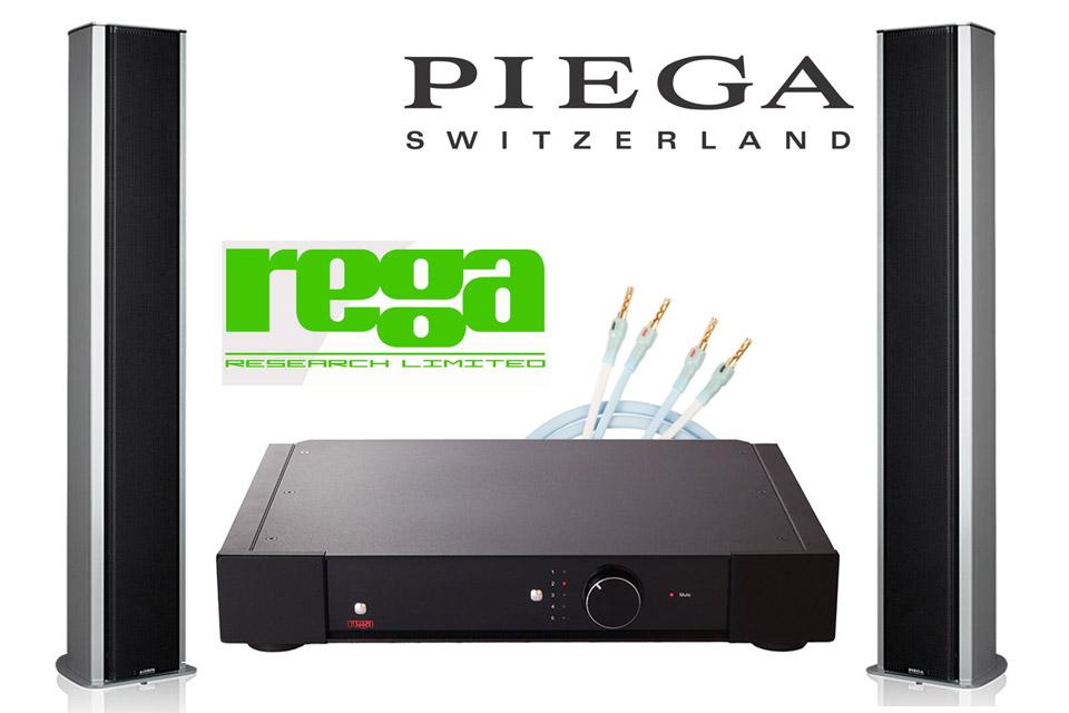 Komplet High-end stereo anlæg med den test-vindende Rega Elex-R forstærker, lækre design højttalere fra Piega og Supra PLY højttalerkabelsæt.