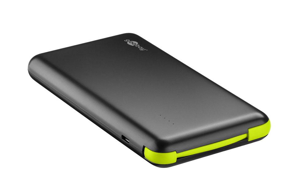 Slank og billig powerbank med kraftigt Lithium-Ion batteri på 8000 mAh. Kan lade en smartphone op til 3-4 gange på en opladning.