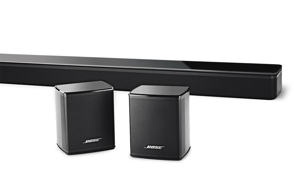 Bose 5.0 system bestående af 1 stk. SoundTouch 300 soundbar og 1 sæt. Virtuel Invisible 300 trådløs baghøjttalere.