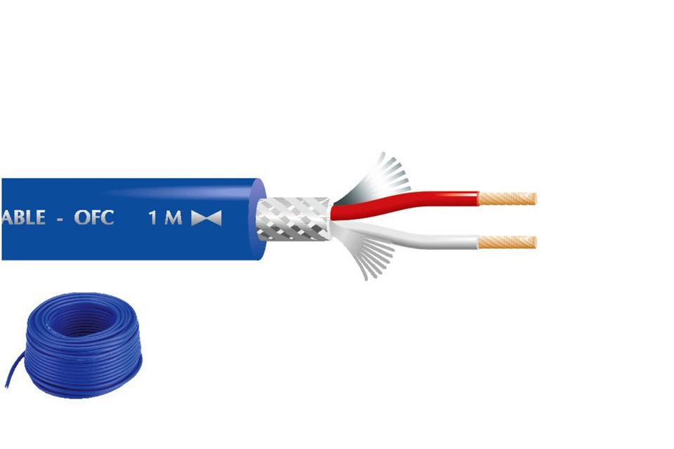 Blåt mikrofonkabel i fantastisk kvalitet, godt skærmet og med metermarkering. Velegnet til lange kabeltræk.