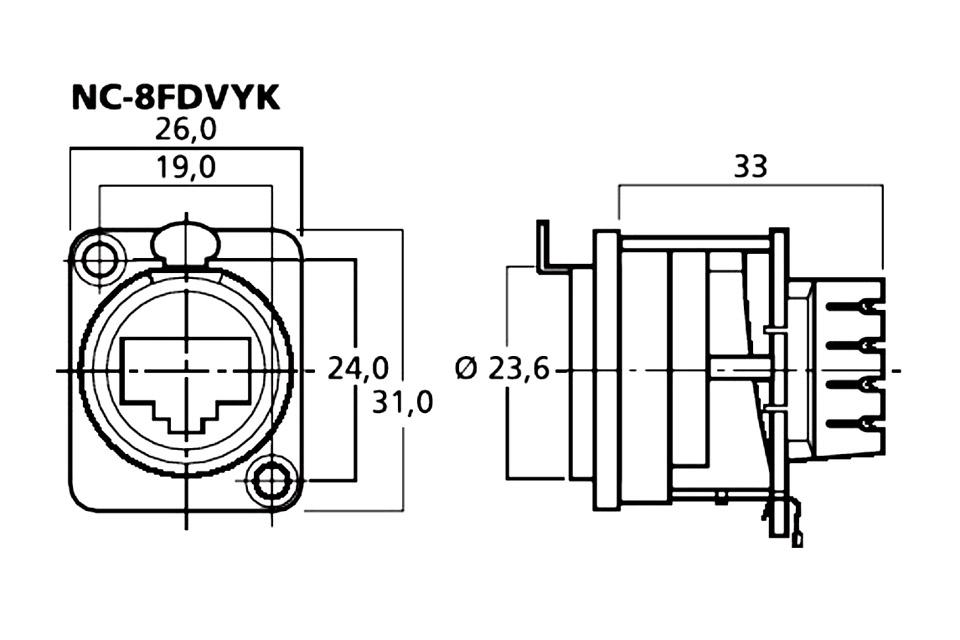 neutrik ethercon chassis connector