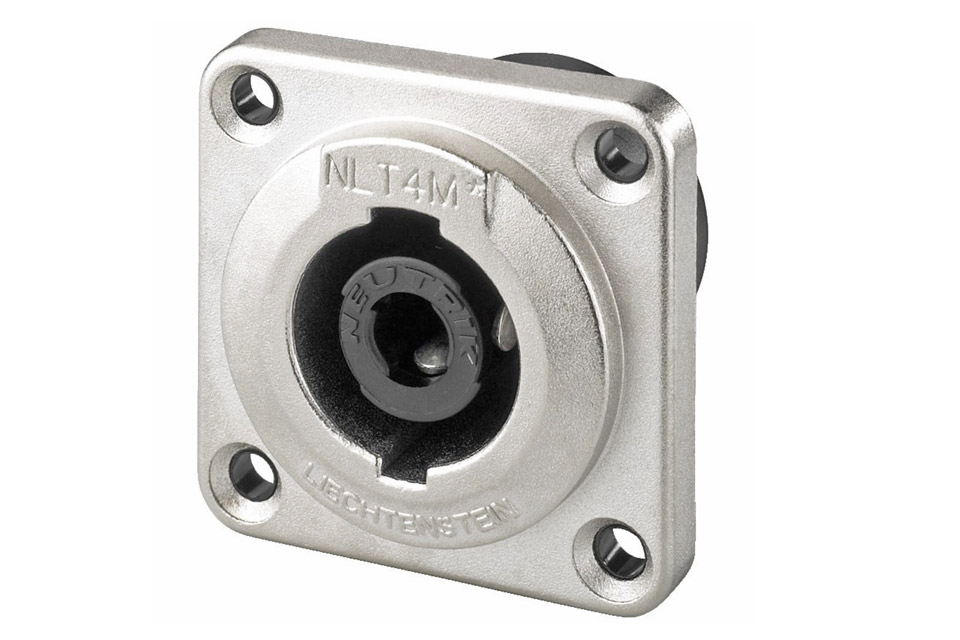 Speakon connector in robust metal body and an IPX4 rating for outdoor use.