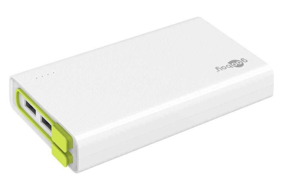 Billig powerbank med kraftigt Lithium-Ion batteri på 20.000 mAh. Kan lade en smartphone op til 6-8 gange på en opladning.