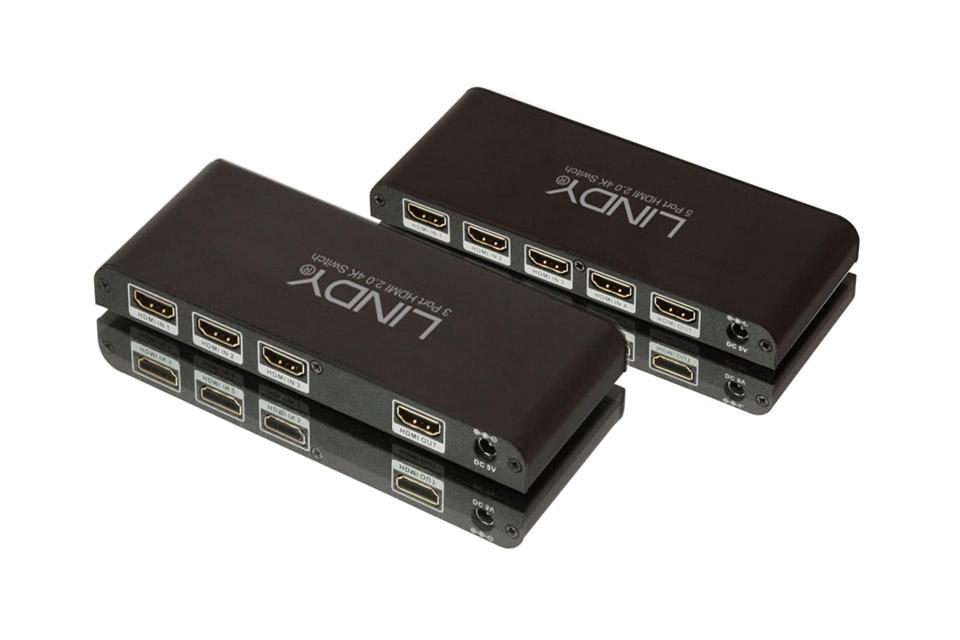3-vejs HDMI 2.0 fjernbetjent omskifterboks. HDMI switchen understøtter Fuld HD, 3D, Ultra HD og HDCP 2.2.