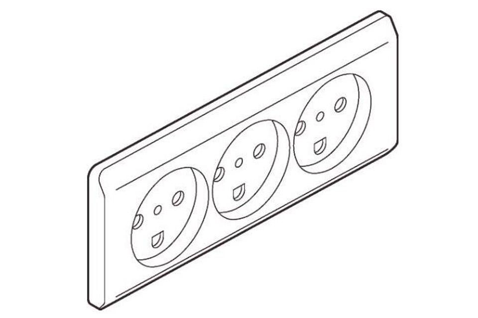 OPUS® 66 tangent/reservedel for trippel stikkontakt med jord