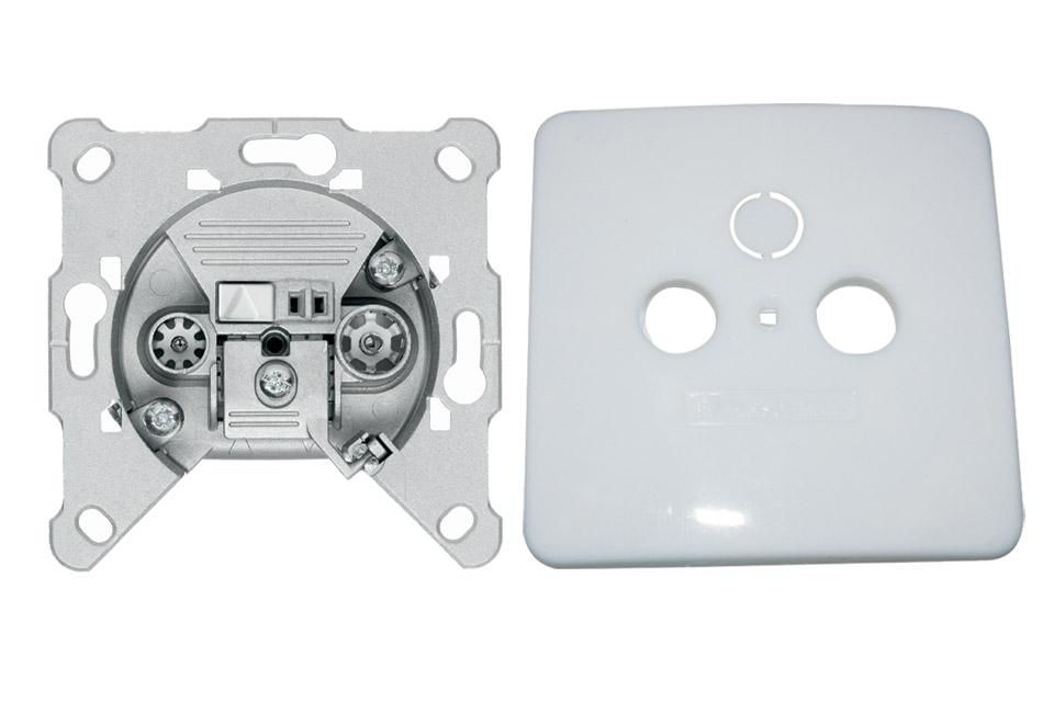 EURO antenne vægdåse til TV/FM fra Triax. FS-01 er en slutdåse og kommer inkl. et hvidt dæksel.