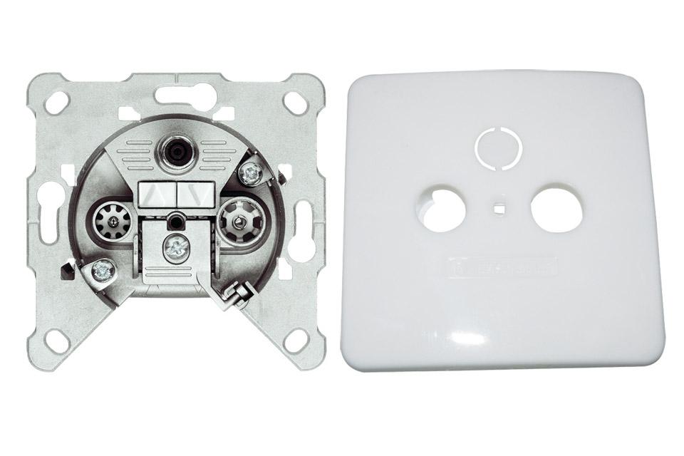 EURO antenne vægdåse til TV/FM/DATA fra Triax. EDM 304 er en slutdåse og kommer inkl. et hvidt dæksel.