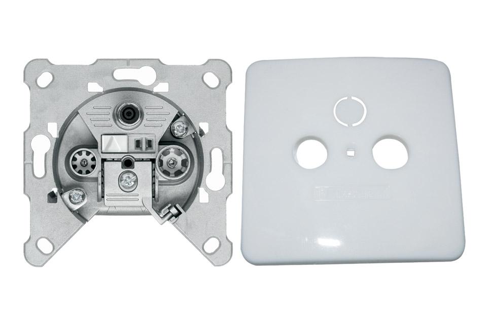 EURO antenne vægdåse til TV/FM/SAT fra Triax. FS 302 er en slutdåse og kommer inkl. et hvidt dæksel.
