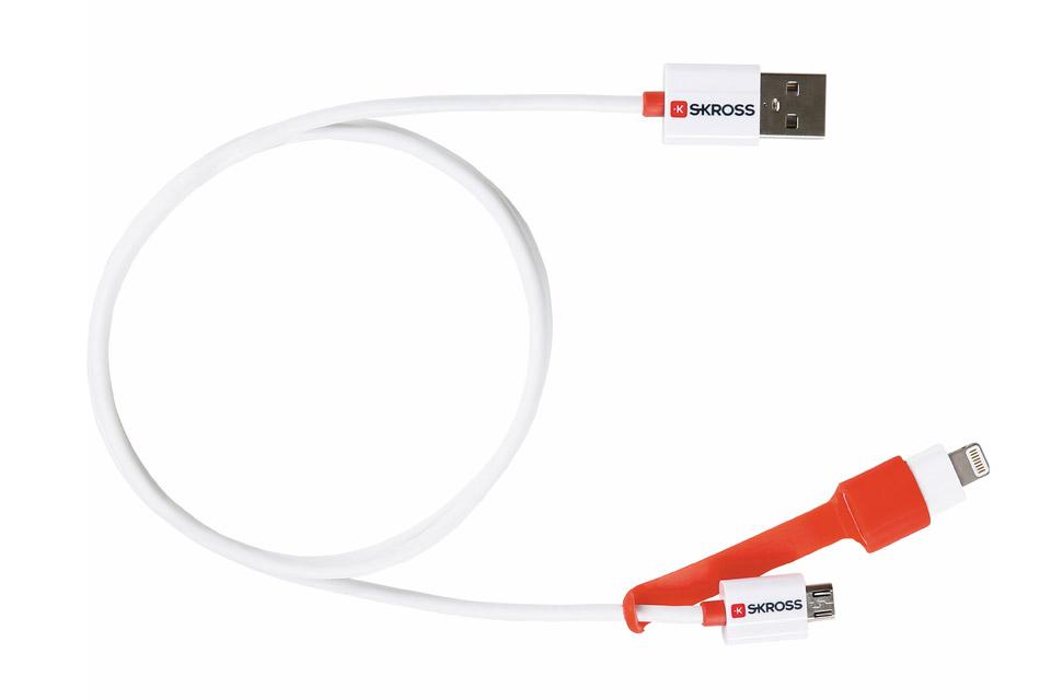 Kvalitets 2-i-1 ladekabel fra Skross, til både android smartphones med Micro USB og iPhone eller iPads med Lightning stik.