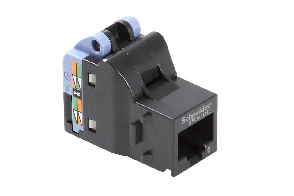 CAT6 uskærmet keystone fra LK. Actassi S-One er udviklet til rackskabe og patchpaneler, men kan også bruges i forfradåser og dybe indmuringsdåser