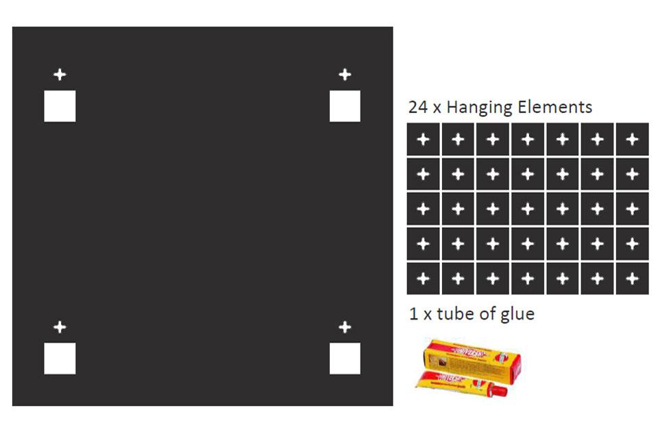 Sonitus ophængnings system til både væg og loft. Systemet består af en template, en tube lim og 24 beslag. Der skal bruges 4 stk beslag pr. ophængning