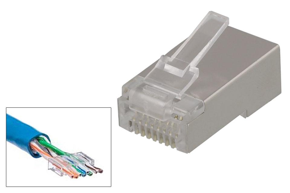 RJ45 skærmet 8P8C modularstik til runde kategory 6 netværkskabler - inkl plastik guide for nemmere montering. Kræver krimpudstyr for samling.