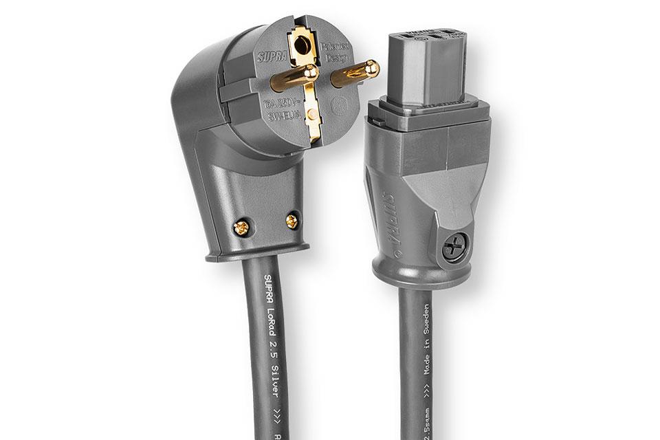 Anniversary udgave af det anerkendte Supra Lorad kabel, med sølvpletterede kobber ledere. Denne udgave har vinklet Shuko han og apparat hun.