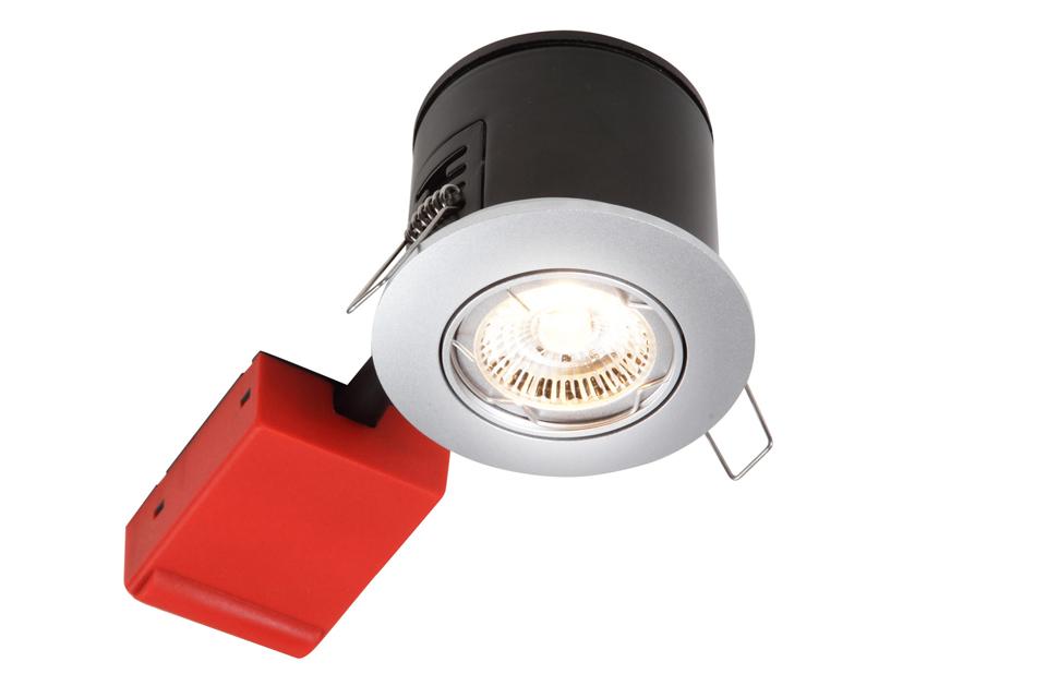 Indbygningspot til udendørs brug i 230V GU10, der kan monteres direkte i isoleringen. Leveres uden pære.