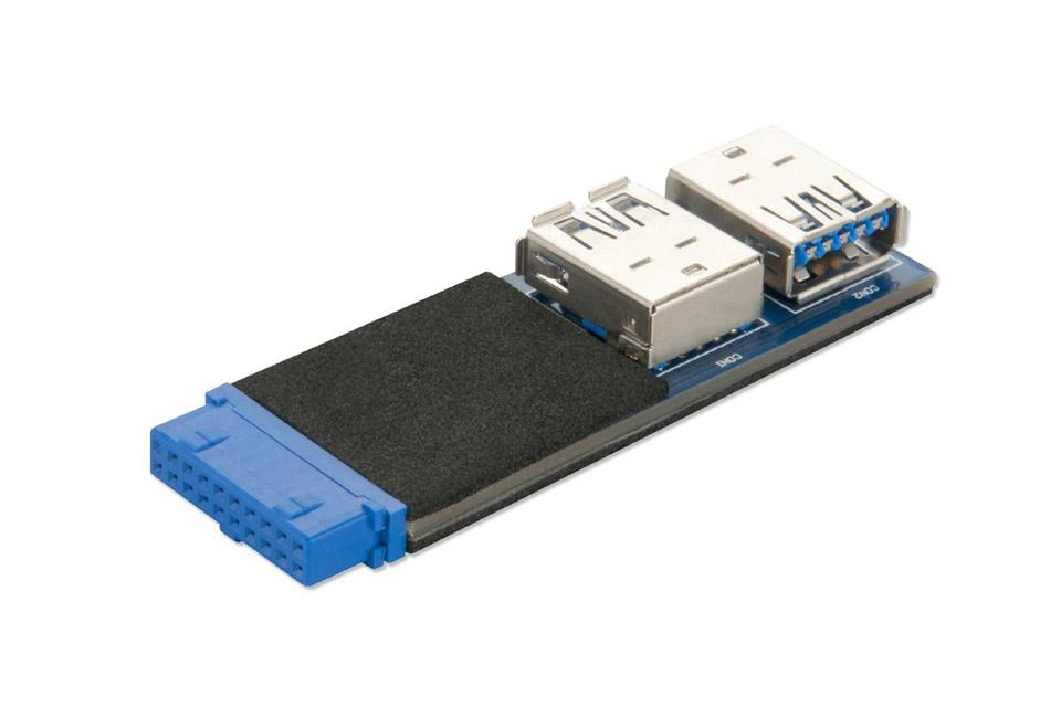 Denne USB 3.0 bundkort header adapter passer til 19 pin USB header stikket i bundkortet, kan bruges til udvidelseskort til to USB A porte.