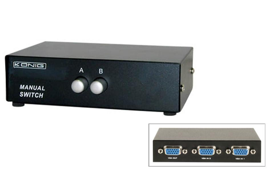 Standard 2 ports VGA switch, der gør det muligt at skifte mellem to skærme, der er forbundet til en PC.