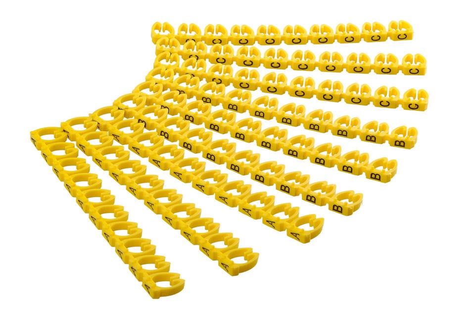 Kabelmarkering med ABC bogstaver der passer til kabler med en tykkelse på 2.5 - 4.0 mm. En pakke består af 90 stk. med 30 A, 30 B og 30 C bogstaver.