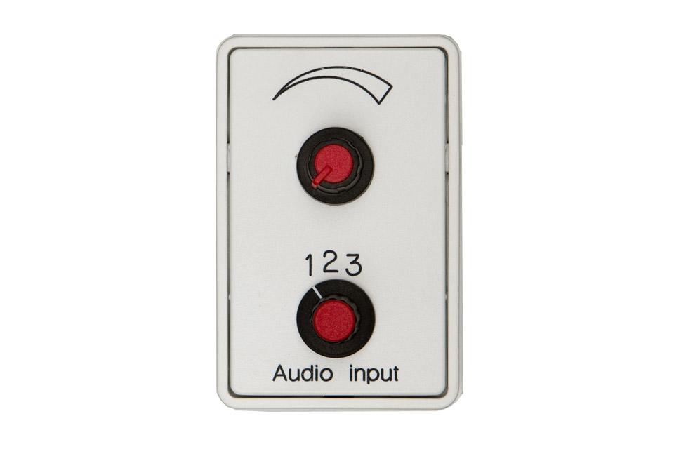 Stereo omskifter med volumekontrol, front