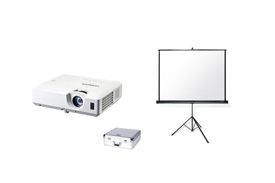 Lej komplet pakke med projektor og lærred, i forbindelse med en præsentation, konfirmation eller lignende.