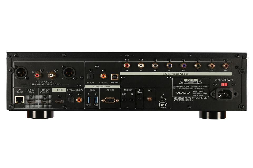 Oppo UDP-205 Ultra HD afspiller, rear view