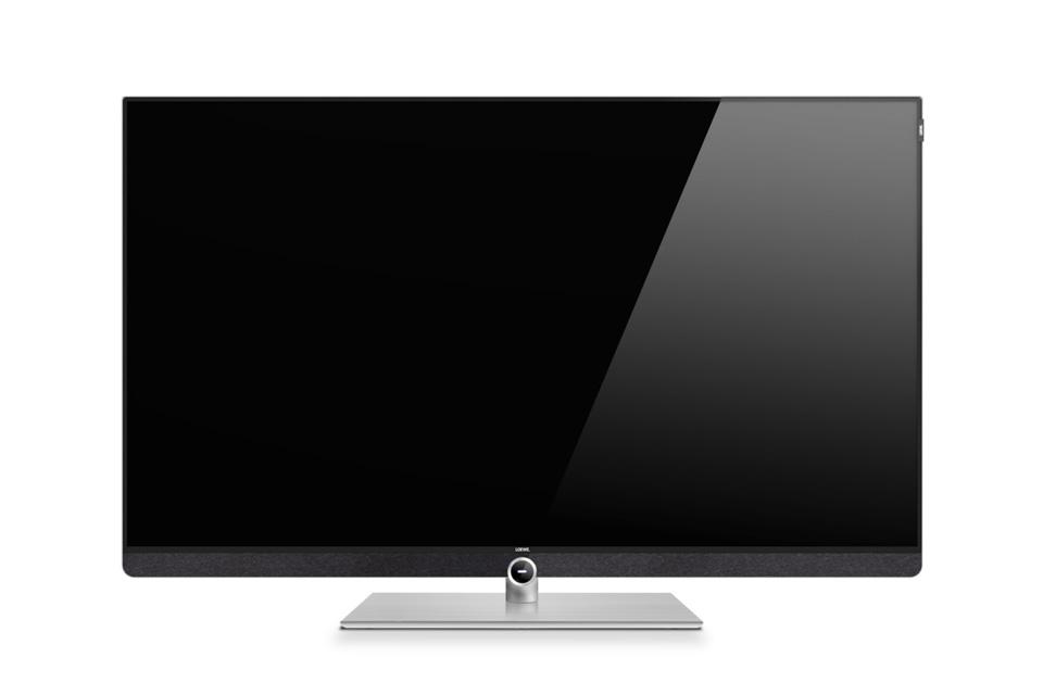 Loewe Bild 3 i en 48 tommers udgave med Ultra-HD LED panel, Digital Audio Link og elegant bordfod som standard. Leveres i enten Grafitgrå eller lys-grå