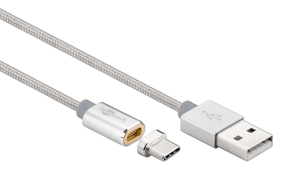 Magnetisk USB-C ladekabel, sølv