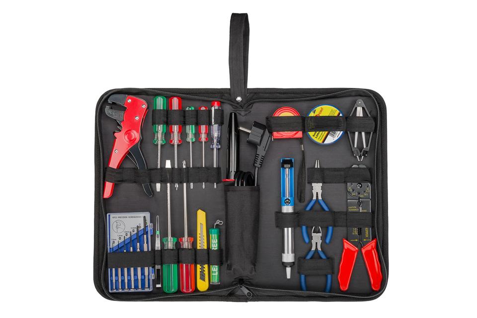 Kom godt igang med lodning, med dette komplette værktøjssæt. Sættet indeholder de mest nødvendige redskaber og kan løse de fleste loddeopgaver.
