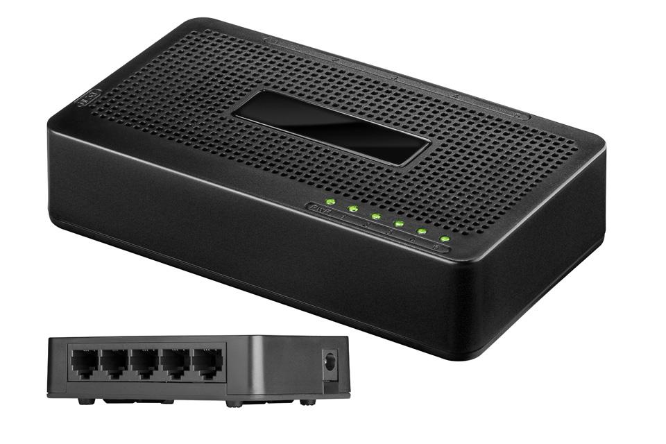 Billig 5 port 10/100 netværk switch der gør det muligt at tilslutte flere enheder/computere til samme netværk.