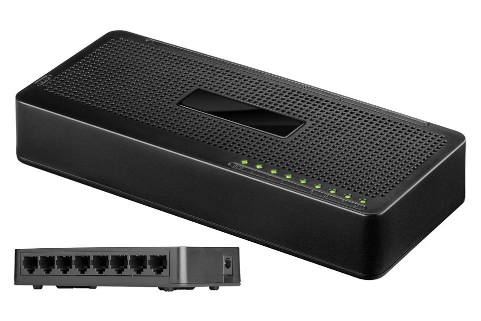 Billig 8 port 10/100 netværk switch der gør det muligt at tilslutte flere enheder/computere til samme netværk.
