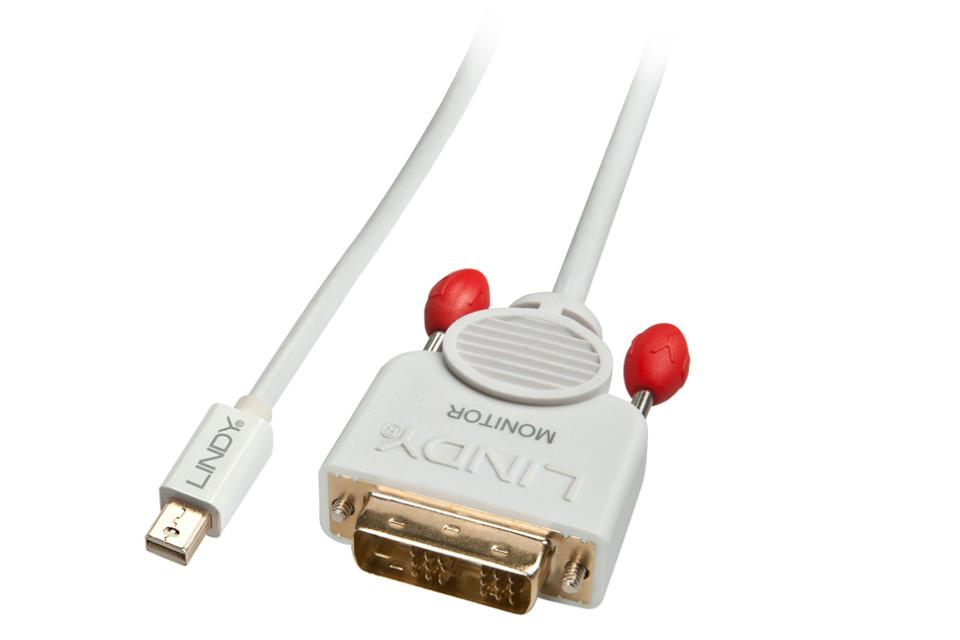 Kabel der gør det muligt at forbinde en PC/bærbar computer med MiniDisplayport udgang, til en monitor eller projektor med DVI indgang.