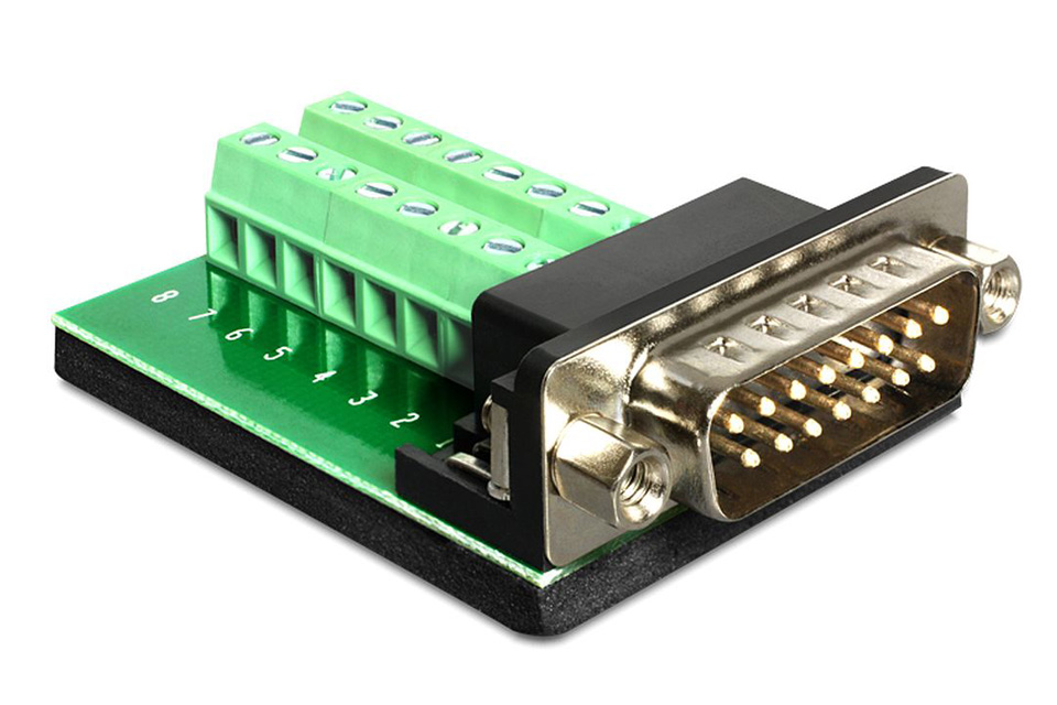 Delock Adapter Sub-D 15-pin Gameport han - Terminal blok 16 pin (Pitch 3,81 mm)