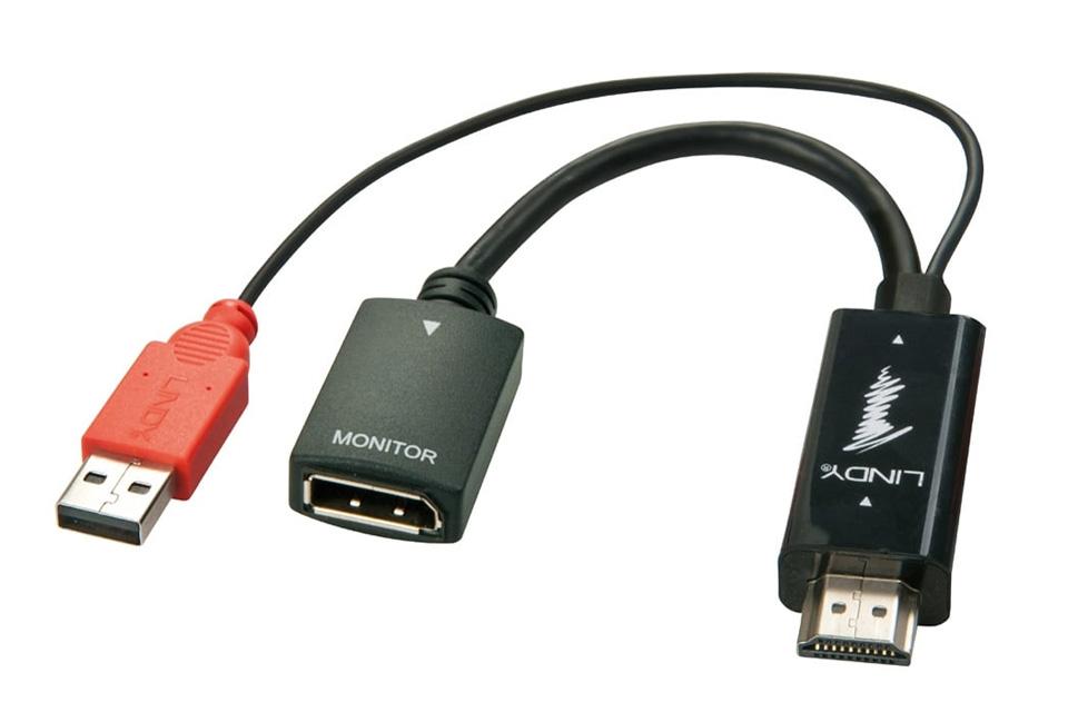 HDMI til DisplayPort konverter, der kan få strøm via USB, så den også virker med onboard grafikkort. Adapteren understøtter 4K@30Hz.