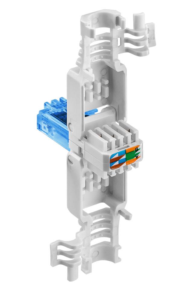 Smart RJ45 CAT 6A (500 MHz) netværksstik til samling uden brug af værktøj på en let og hurtig måde. Stikket er til uskærmede kabler og har indbygget aflastning.
