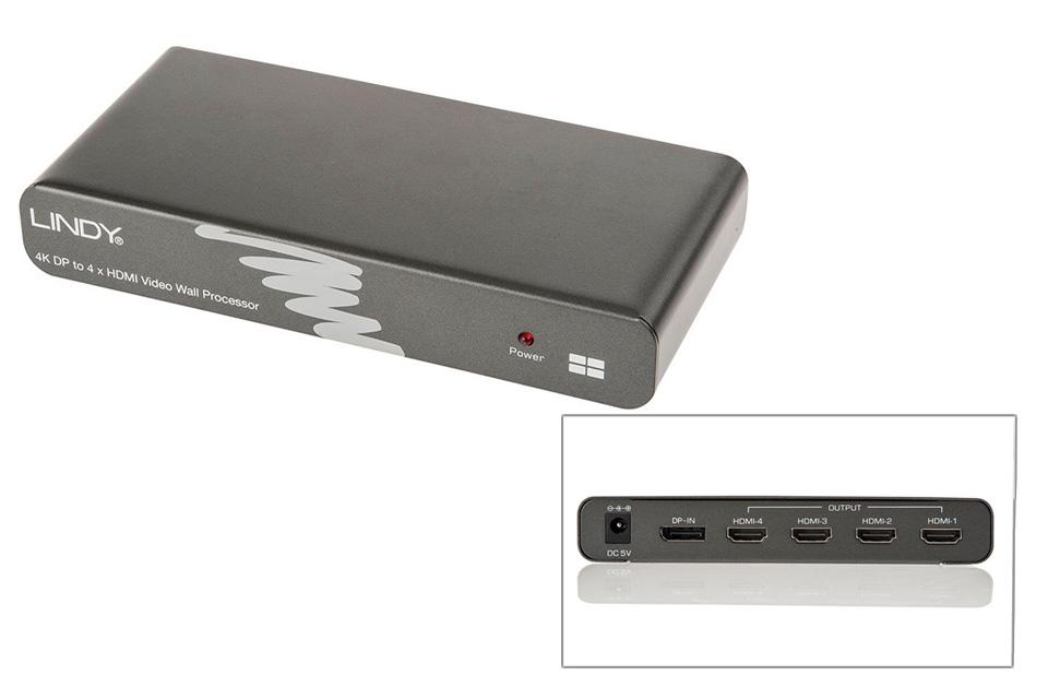 DisplayPort til 4xHDMI splitter. Understøtter Video Wall, Duplicate, Extended og Expanderview/Eyefinity, alt efter hvilket grafikkort konverteren anvendes med.