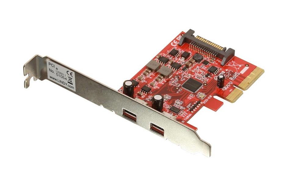 USB-C PCI-express kort til en PC uden USB 3.1 USB-C tilslutningsmuligheder. USB-C 3.1 giver mulighed for dataoverførselshastigheder på op til 10 Gbps.