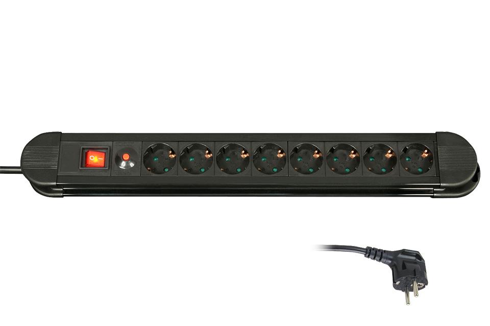 Kvalitets Schuko 8-stikdåse med kabel på 1.4 meter