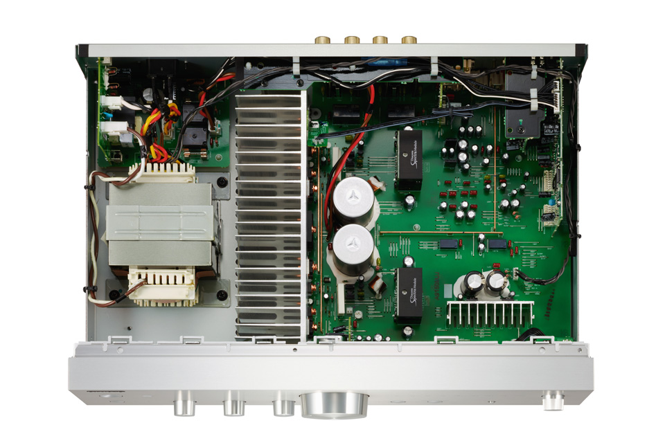 Onkyo stereo amplifier, inside without lid