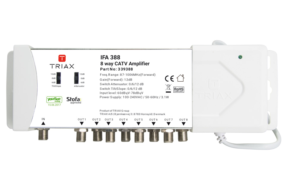 Proffesional 8-way amplifier for Cable TV installation.