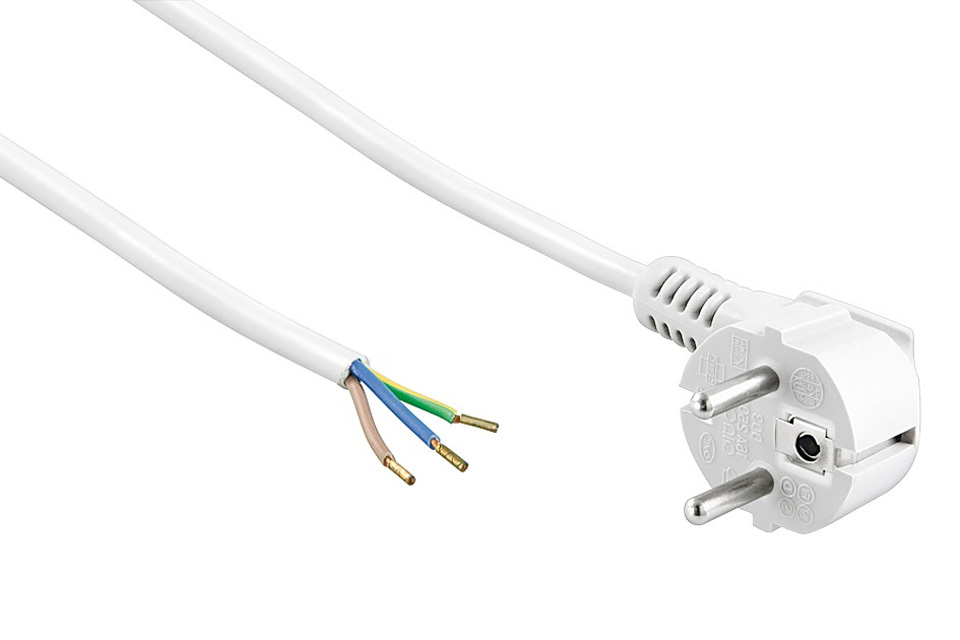 230V strømkabel med schuko stik og afisoleret kabel ende, der er klargjort til montering af stik.