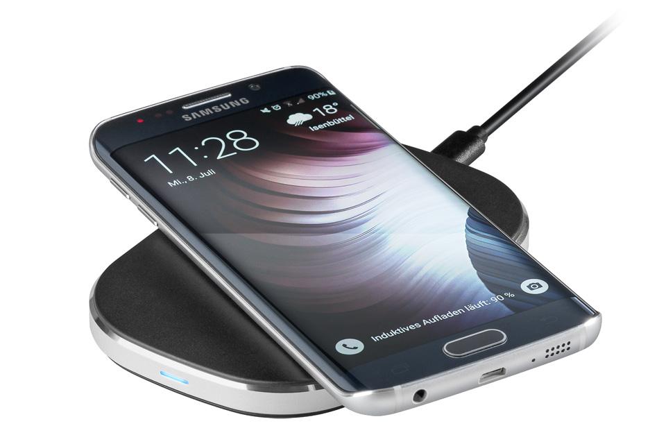 Ekstra bred QI ladestation til kabelløs opladning af iPhone 8, iPhone X og Samsung Galaxy S7/S6.