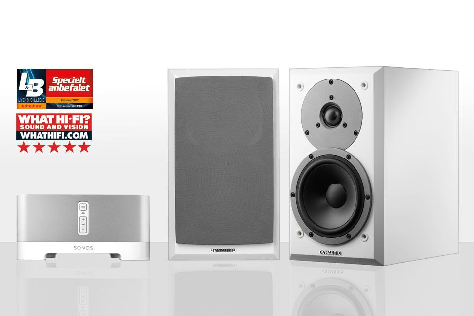 Komplet streaming musikanlæg bestående af de anmelderroste Emit 10 højttalere fra danske Dynaudio og den populære Sonos Connect AMP.