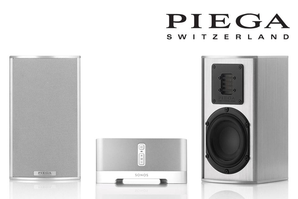 Komplet streaming musikanlæg med Schweiziske PIEGA TMicro 40 højttalere og den populære Sonos Connect AMP.