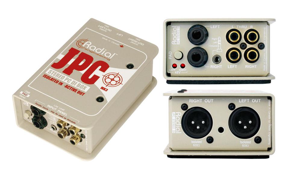 Radial JPC eliminerer de støj og brum problemer der ofte opstår, når der tilsluttes f.eks. en laptop til et PA anlæg.