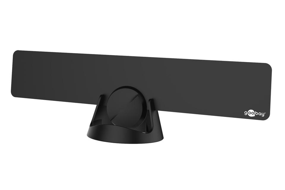 Ultraflat aktiv DVB-T antenne til indendørs brug. Denne antenne kan både vægmonteres eller stilles i en reol, vindue eller lign. med det medfølgende tilbehør.