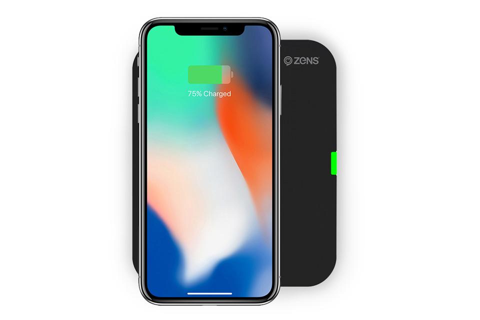 Trådløs oplader i et lækkert design, der passer til QI kompatible smartphones, som f.eks. iPhone 8, iPhone X, Samsung Galaxy S8 osv.