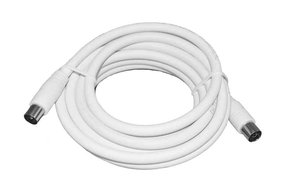 Low cost quality antenna cable from DKT Comega in white finish. Approved by Stofa and YouSee.